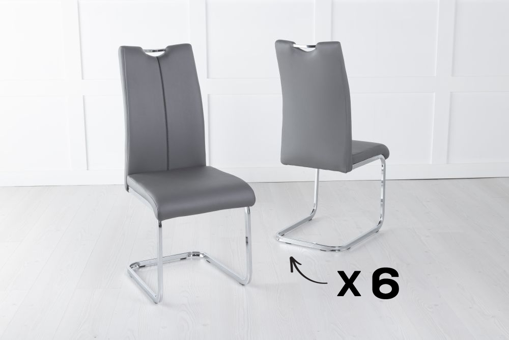 Set of 6 Nikko Grey Faux Leather Dining Chair