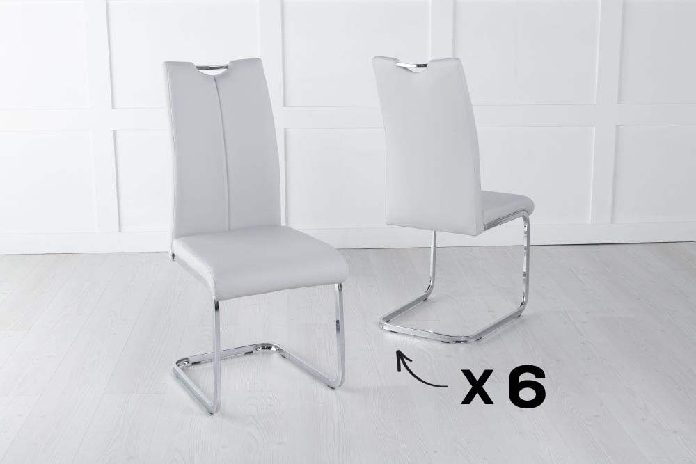 Set of 6 Nikko Light Grey Faux Leather Dining Chair