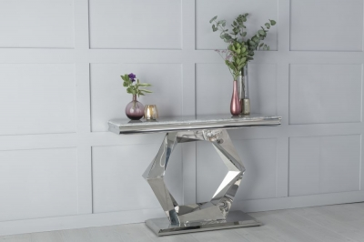 Urban Deco Octa Grey Marble and Chrome Console Table