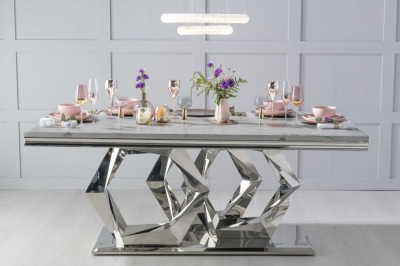 Urban Deco Octa Dining Table - Grey Marble and Stainless Steel Chrome