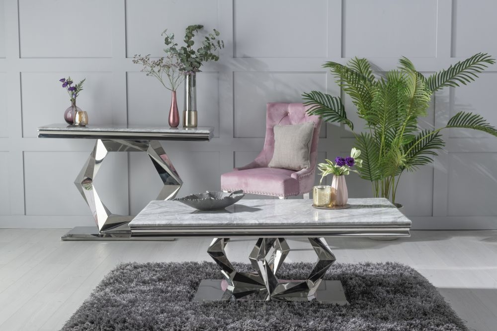 Urban Deco Octa Grey Marble and Chrome Coffee Table