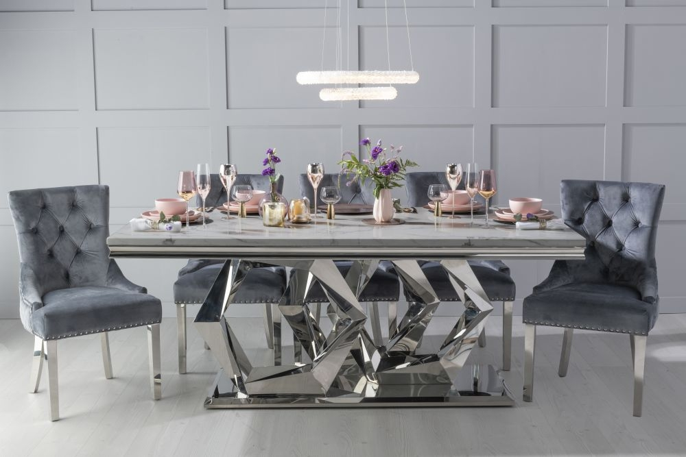Urban Deco Octa Grey Marble and Chrome 200cm Dining Table with 6 Grey Knockerback Chrome Leg Chairs