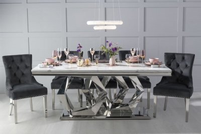 Urban Deco Octa 200cm White Marble and Chrome Dining Table with 6 Black Knockerback Chrome Leg Chairs