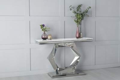 Urban Deco Octa White Marble and Chrome Console Table