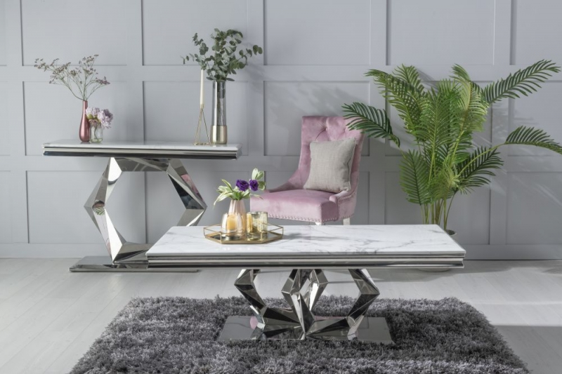 Urban Deco Octa White Marble and Chrome Coffee Table