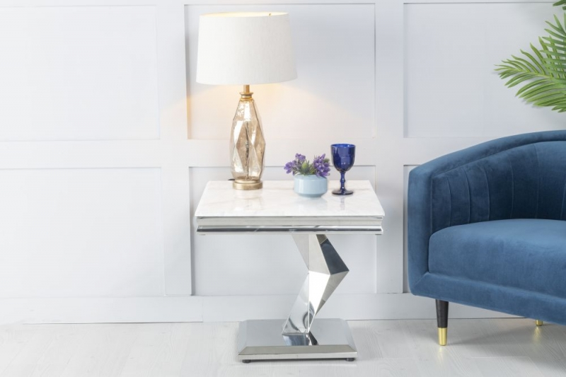 Urban Deco Octa White Marble and Chrome Side Table