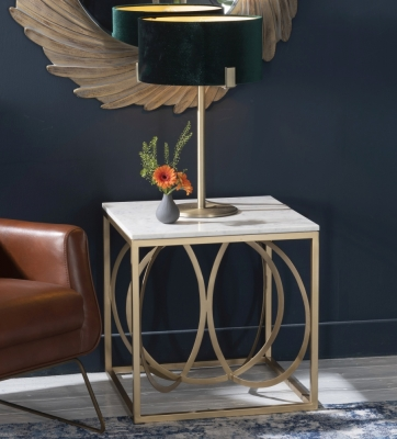 Olympia White Marble Side Table - Gold Metal Base