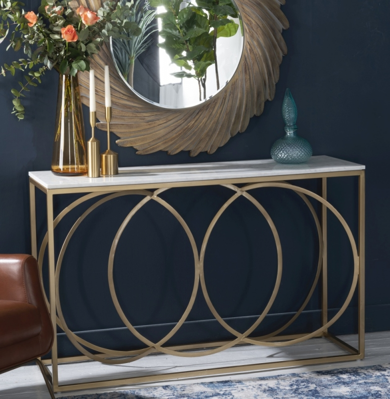 Olympia Brushed Gold and White Marble Console Table