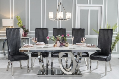 Buy Urban Deco Orbit 200cm Cream Marble and Chrome Dining Table with 4 Allure Black Chairs and Get 2 Extra Chairs Worth £438 For FREE