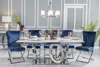 Urban Deco Orbit 200cm Cream Marble and Chrome Dining Table and 6 Lyon Blue Fabric Chairs