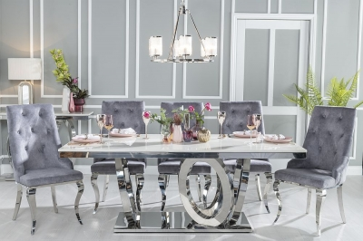 Buy Urban Deco Orbit 200cm Cream Marble and Chrome Dining Table with 4 Premiere Grey Knockerback Chairs and Get 2 Extra Chairs Worth £398 For FREE