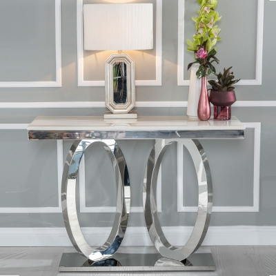 Urban Deco Orbit Cream Marble and Chrome Console Table