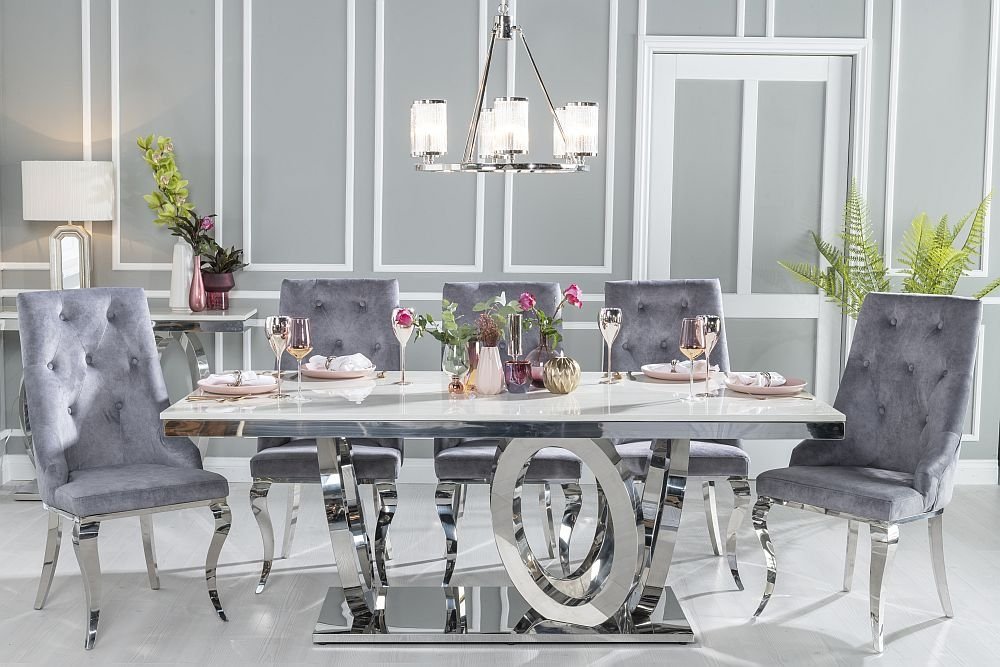Urban Deco Orbit Dining Table with Premiere Grey Fabric Knockerback Chairs - Cream Marble and Stainless Steel Chrome