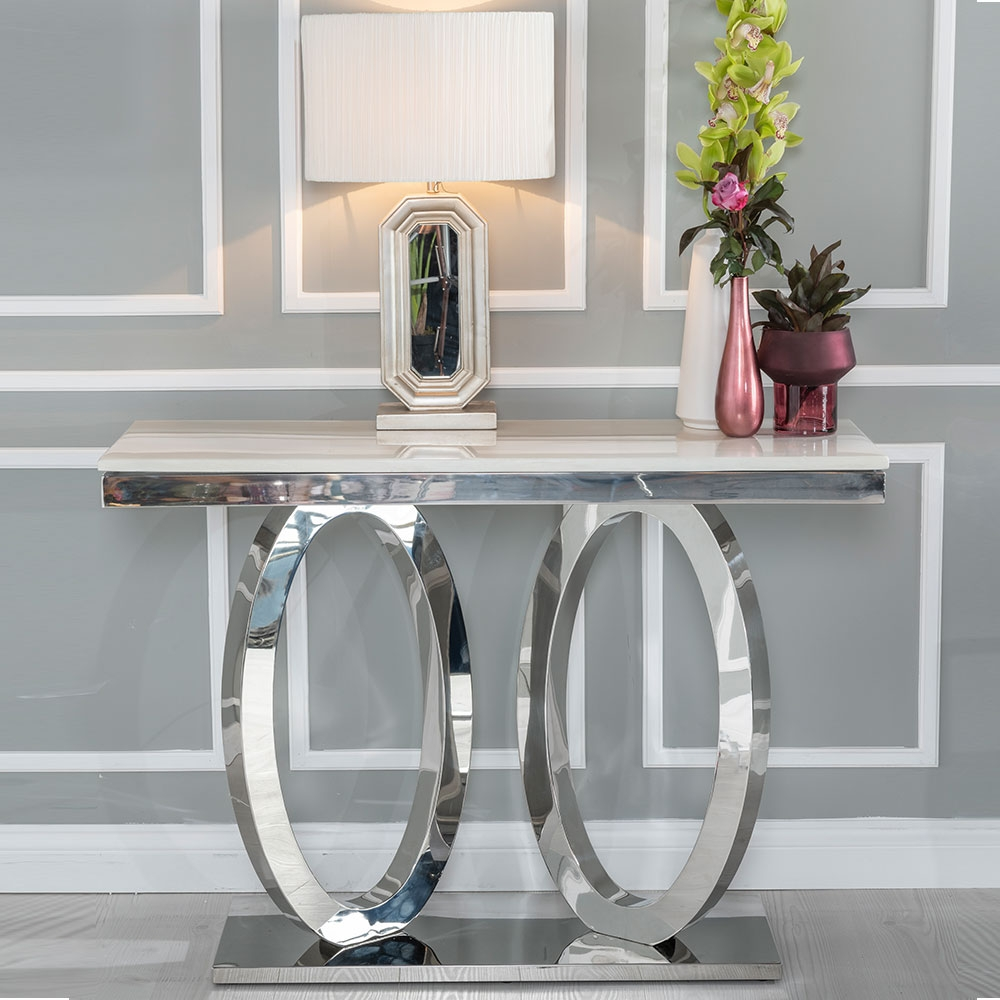 Urban Deco Orbit Console Table - Cream Marble and Stainless Steel Chrome