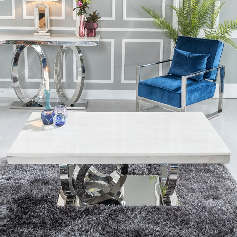 Urban Deco Orbit Coffee Table - Cream Marble and Stainless Steel Chrome