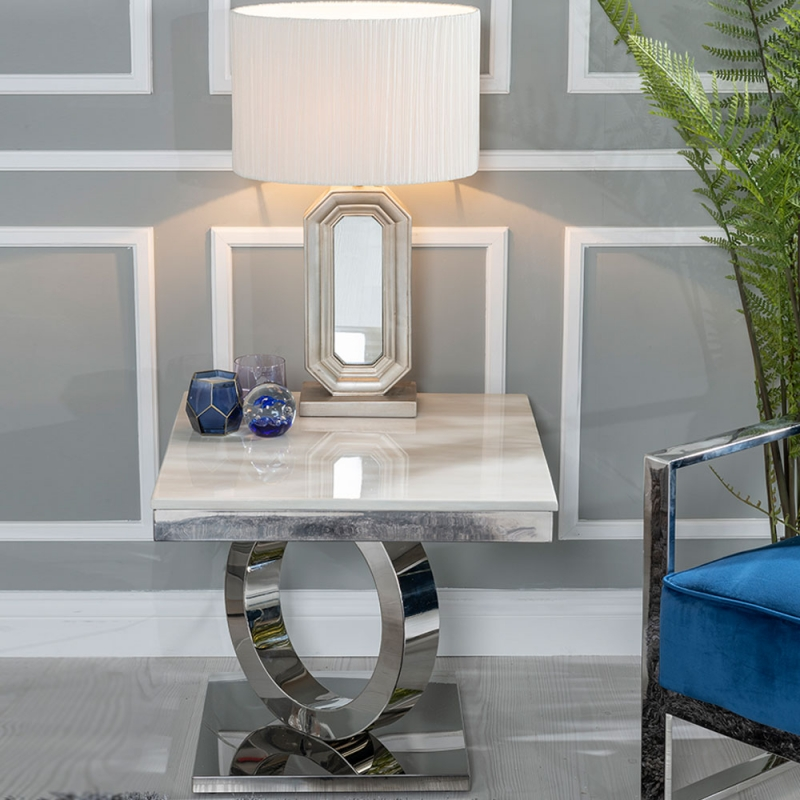 Urban Deco Orbit Side Table - Cream Marble and Stainless Steel Chrome