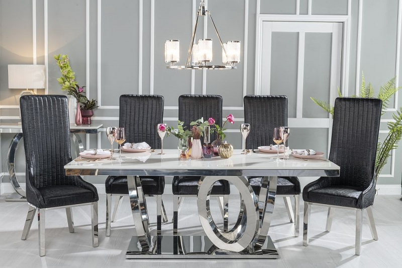 Urban Deco Orbit 200cm Cream Marble and Chrome Dining Table and 6 Allure Black Chairs