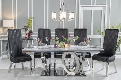 Urban Deco Orbit 200cm Grey Marble and Chrome Dining Table and 6 Allure Black Chairs