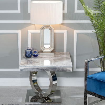 Urban Deco Orbit Grey Marble and Chrome Side Table