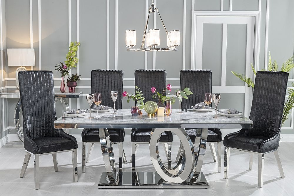 Buy Urban Deco Orbit 200cm Grey Marble and Chrome Dining Table with 4 Allure Black Chairs and Get 2 Extra Chairs Worth £438 For FREE