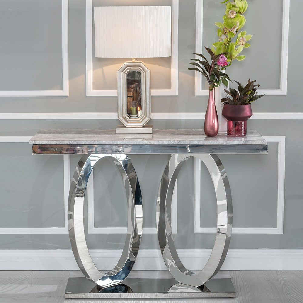 Urban Deco Orbit Console Table - Grey Marble and Stainless Steel Chrome