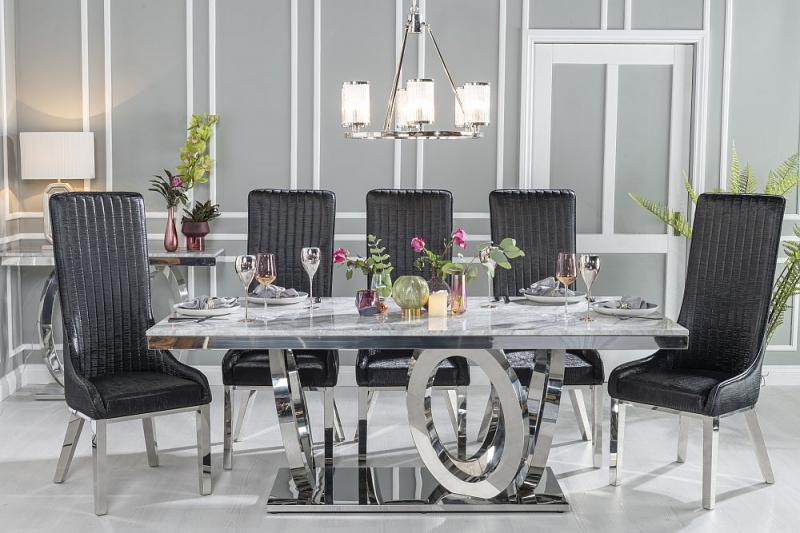 Urban Deco Orbit Dining Table with Allure Black Faux Leather Chairs - Grey Marble and Stainless Steel Chrome
