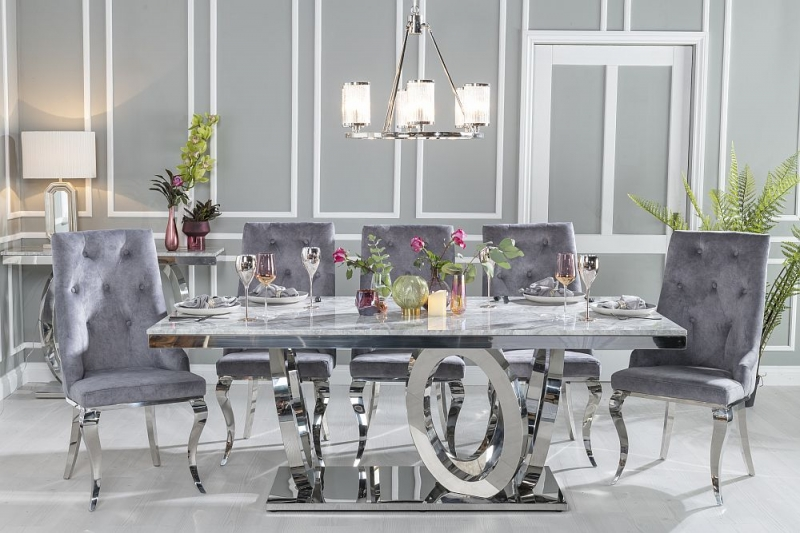 Urban Deco Orbit 200cm Grey Marble and Chrome Dining Table and 6 Premiere Grey Knockerback Chairs