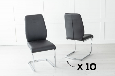 Set of 10 Oslo Black Faux Leather Dining Chair