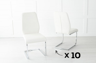 Set of 10 Oslo Cream Faux Leather Dining Chair