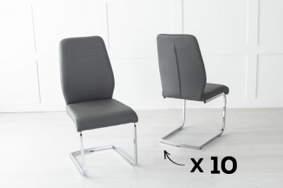 Set of 10 Oslo Grey Faux Leather Dining Chair
