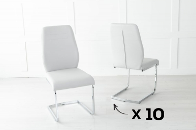 Set of 10 Oslo Light Grey Faux Leather Dining Chair