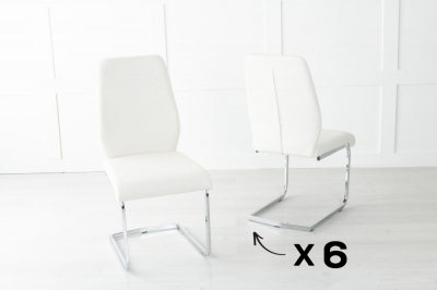 Set of 6 Oslo Cream Faux Leather Dining Chair