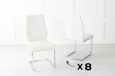 Set of 8 Oslo Cream Faux Leather Dining Chair