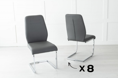 Set of 8 Oslo Grey Faux Leather Dining Chair