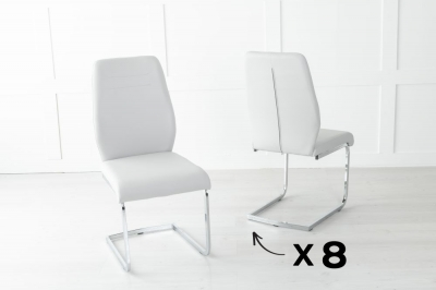 Set of 8 Oslo Light Grey Faux Leather Dining Chair