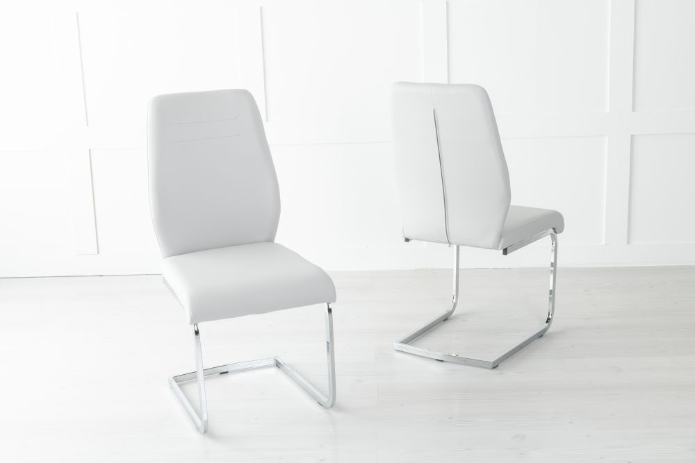 Oslo Light Grey Faux Leather Dining Chair