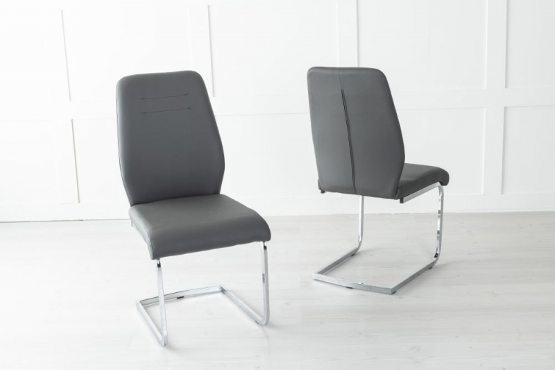 Oslo Dark Grey Leather Dining Chair with Brushed Stainless Steel Cantiliver Base