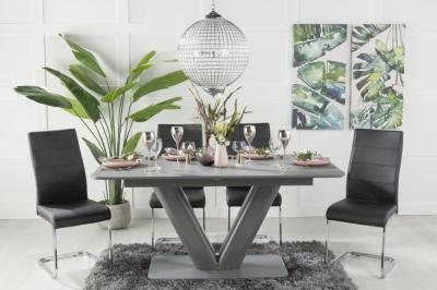 Urban Deco Panama Grey Glass 160-200cm Dining Table and 6 Malibu Black Chairs