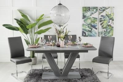 Urban Deco Panama Grey Glass 160-200cm Dining Table and 6 Malibu Grey Chairs
