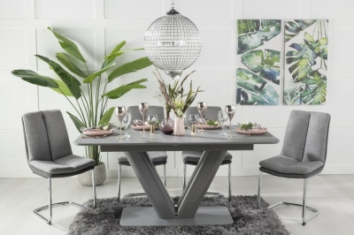 Urban Deco Panama Grey Glass 160-200cm Dining Table and 6 Tucson Grey Chairs