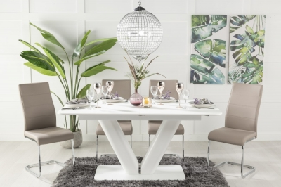 Buy Urban Deco Panama White Glass 160-200cm Dining Table with 4 Malibu Taupe Chairs and Get 2 Extra Chairs Worth £128 For FREE