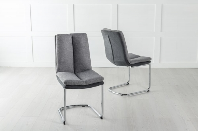 Tucson Grey Fabric Dining Chair with Brushed Metal Base