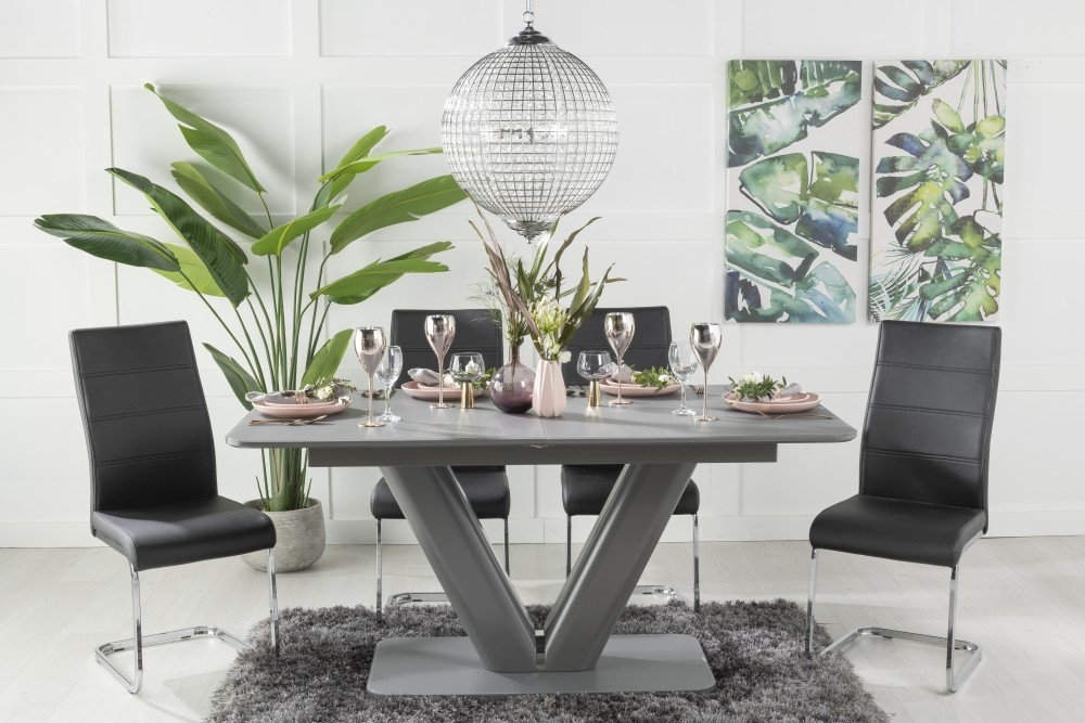Buy Urban Deco Panama Grey Glass 160-200cm Dining Table with 4 Malibu Black Chairs and Get 2 Extra Chairs Worth £128 For FREE