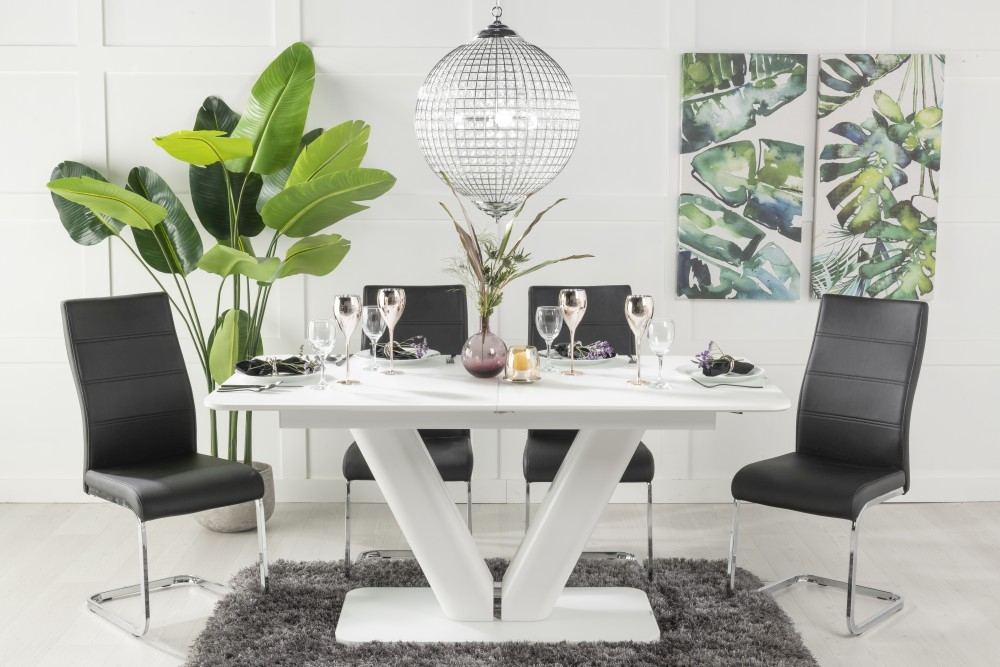 Buy Urban Deco Panama White Glass 160-200cm Dining Table with 4 Malibu Black Chairs and Get 2 Extra Chairs Worth £128 For FREE