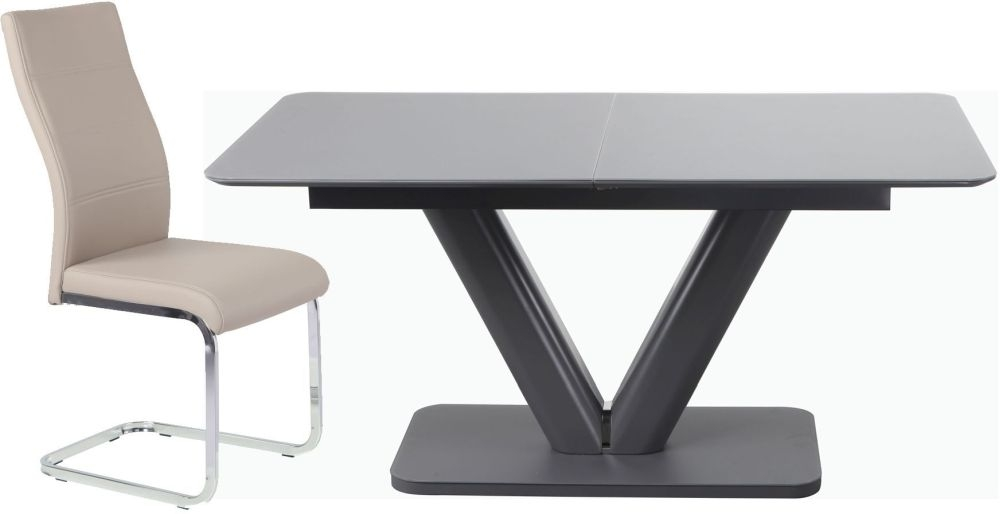 Urban Deco Panama Extending Grey Dining Table and Malibu Beige Dining Chairs
