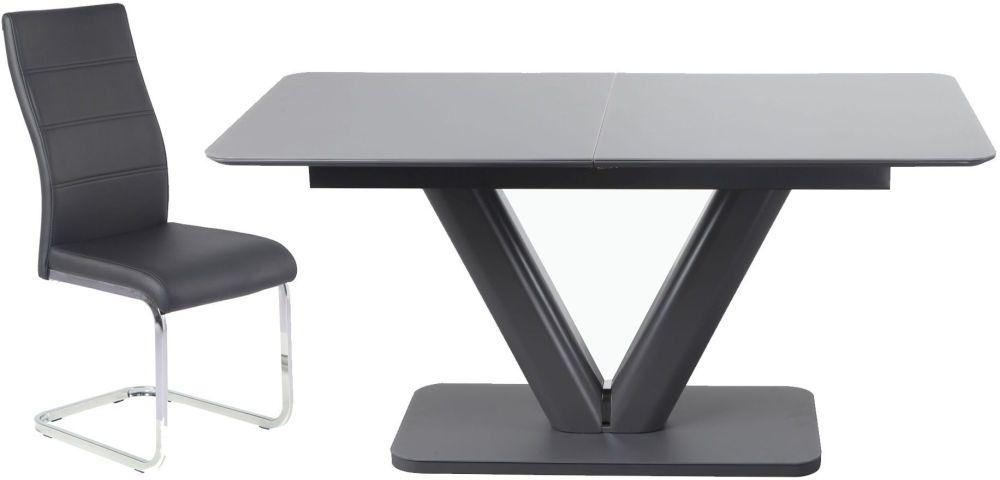Urban Deco Panama Extending Grey Dining Table and Malibu Black Chairs