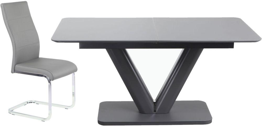 Urban Deco Panama Extending Grey Dining Table and Malibu Grey Chairs