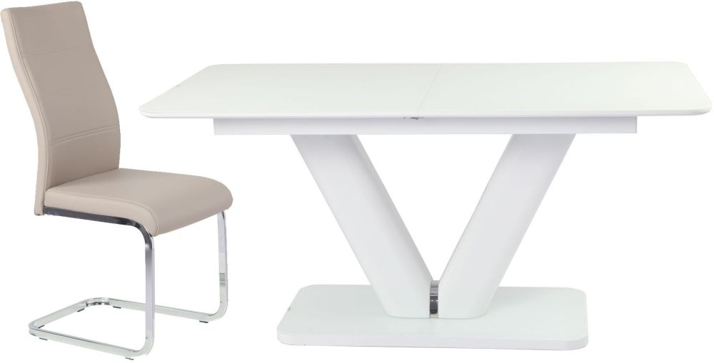 Urban Deco Panama Extending White Dining Table and Malibu Beige Dining Chairs