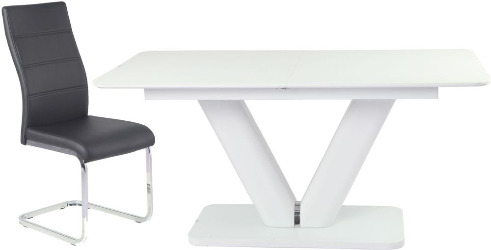 Urban Deco Panama Extending White Dining Table and Malibu Black Chairs