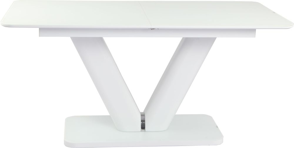 Urban Deco Panama White Glass Extending Dining Table